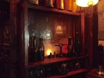 Antique mirror in custom home pub